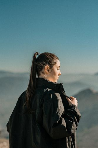 young girl with mountains in the background Caucasian Classic Lady Clothing Lifestyle Style Fashion attractive vintage Woman hipster Jaen Adults Vintage Girl