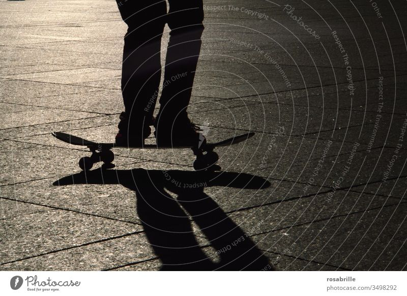 but now quickly | skateboarder with shadow Skateboard Shadow feet Stand Driving Acrobatics active Sports dorsal light Evening Back-light skater Sportsperson