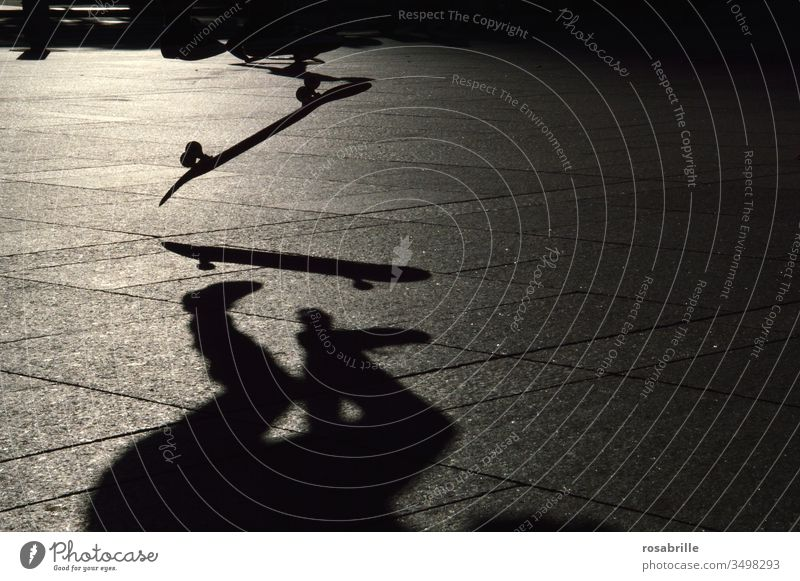 Skater at skateboard jump with his shadow in evening backlight | dynamic Skateboard Shadow Jump Skateboard Jump Dynamic in midair Acrobatics active Sports