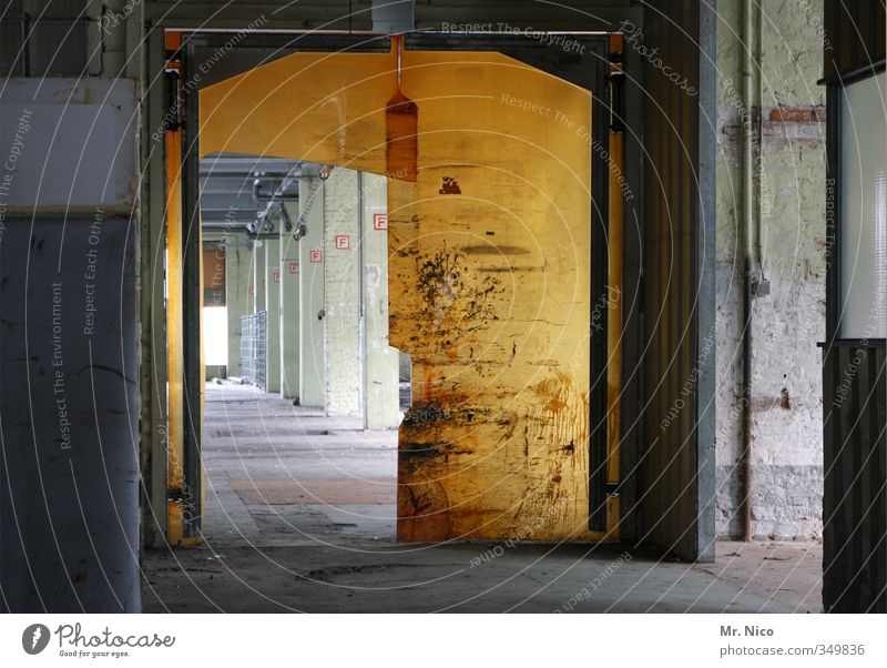 Old Yellow Lanes & trails Building Work and employment Door Dirty Technology Safety Plastic Factory Manmade structures Gate Trade Warehouse Hall