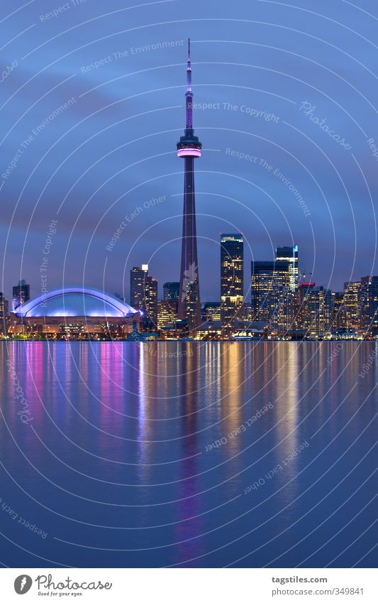 Toronto CN Tower Ontario Canada Americas Vacation & Travel Travel photography Night Twilight Colour photo Reflection Lake Ontario High-rise Town Landmark