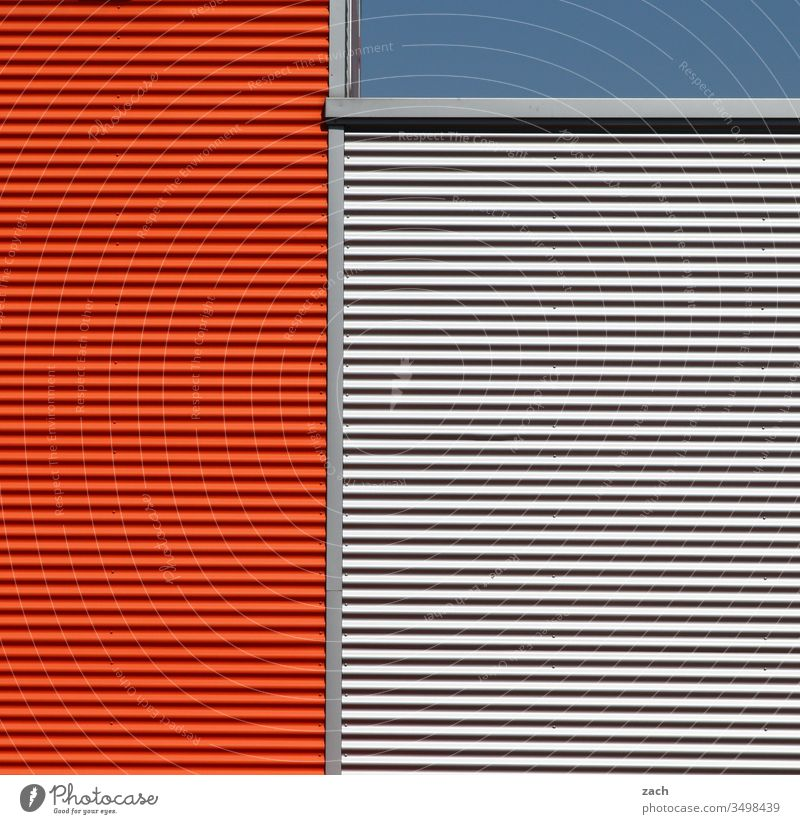 Symmetry | linearity House (Residential Structure) Facade Industrial plant Tin Exterior shot Factory built Wall (barrier) Architecture Colour photo