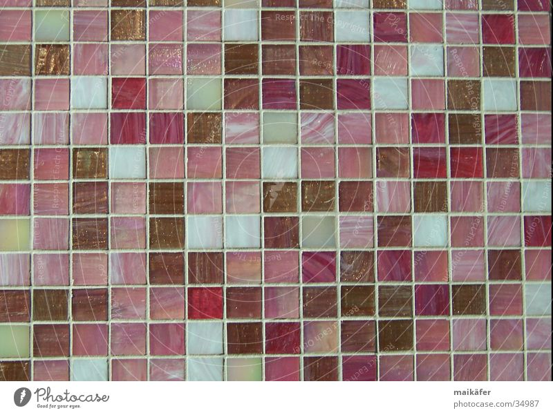 Mixture in rosé Mosaic Grid Pink Beige Brown Glittering Light Craft (trade) Style Architecture bisazza Seam Tile Contrast