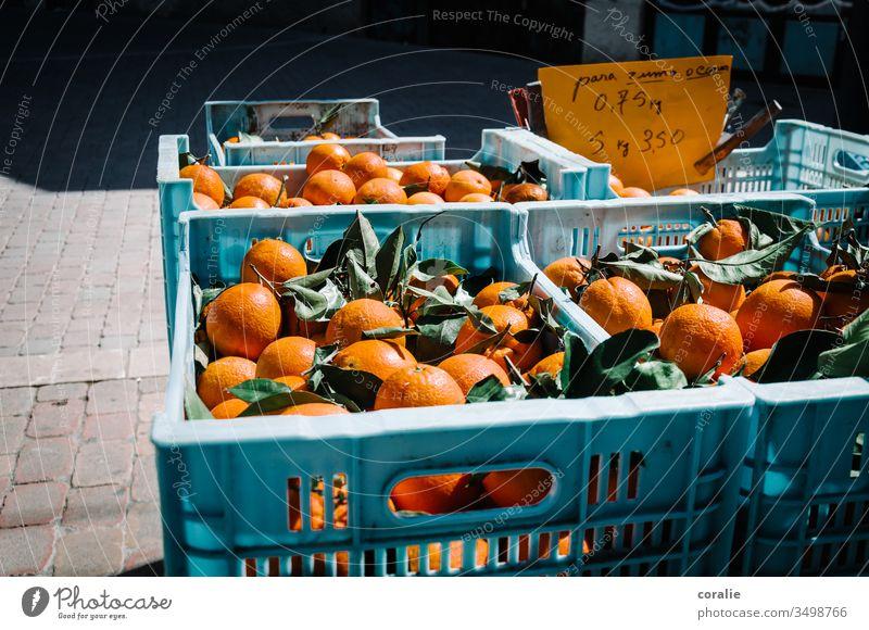 Boxes of oranges on the market Orange Orange juice Fruit Marketplace Markets Market stall Colour photo Food Vegetarian diet Organic produce Fresh Healthy