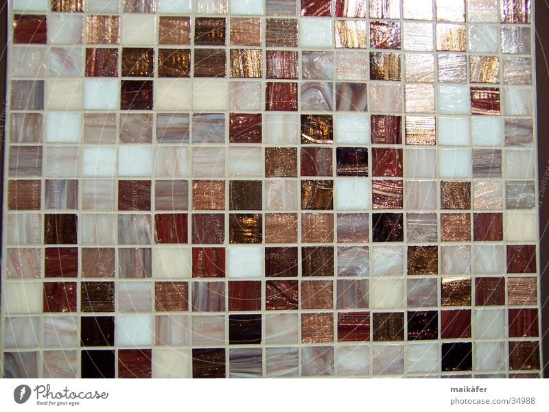 Mixture in brown Mosaic Grid Brown Glittering Light Craft (trade) Style Architecture bisazza Seam Tile Contrast