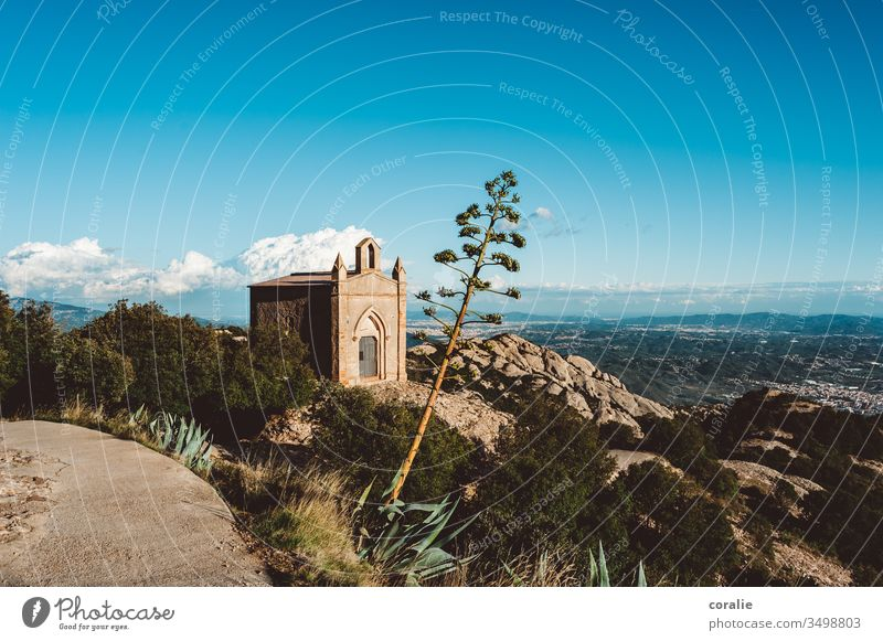 Chapel on a mountain in Spain mountain lodge Church Mountain mountains Peak Colour photo Religion and faith Sky Nature Belief Landscape Rock Copy Space top Hill