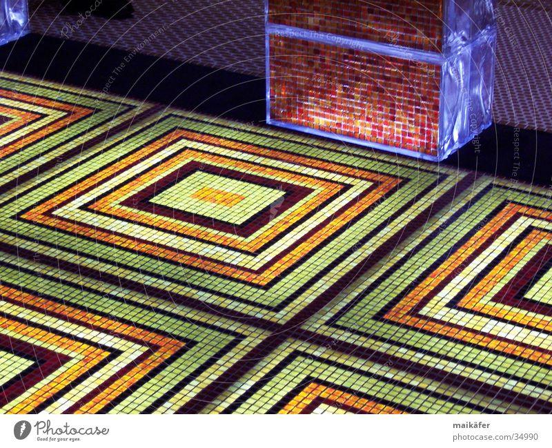 Green Red Lighting Orange Glass Back Floor covering Square Noble Grid Mosaic