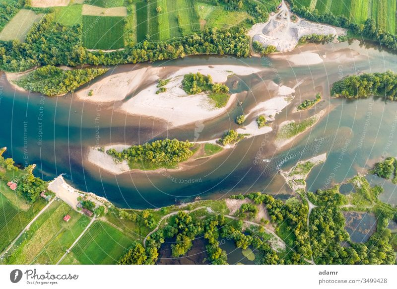 Drone view of river Drina landscape nature aerial water travel island tourism summer outdoors forest rural natural valley scenic stream spring tara sunset green
