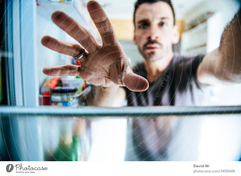 Handle in the refrigerator Grasp by hand Icebox Eating nib hunger Fridge door open take out get out Door handle Perspective creative Creativity creatively great
