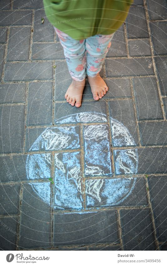 Literally l The world is at your feet Child Earth Chalk Drawing Life Infancy Day Art Colour photo Creativity Exterior shot sustainability Environment Future
