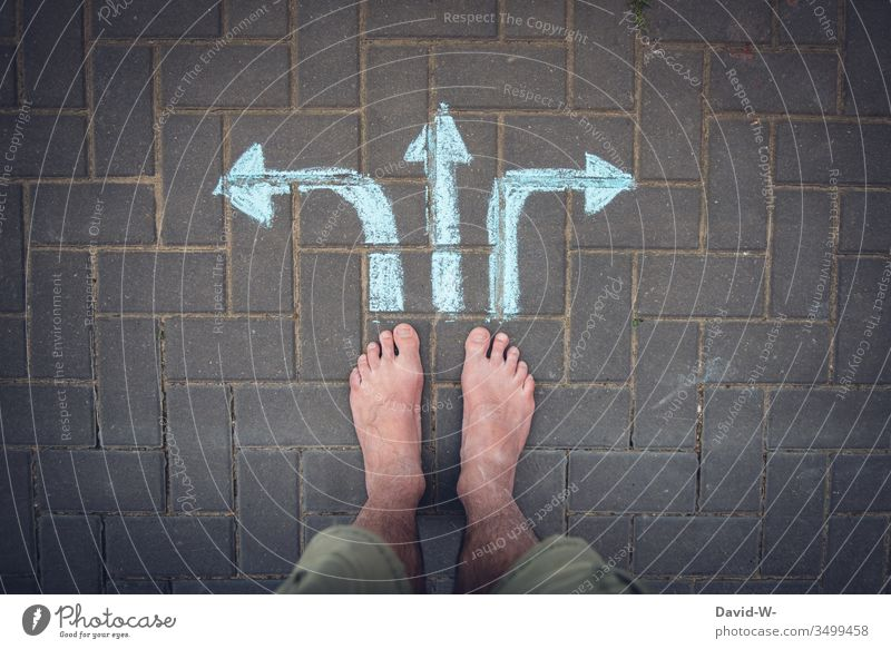 Which way do you go? off Direction Arrow Left Right Right ahead foot Bird's-eye view Target Insecure insecurity Decide decisions Where to? Whereto