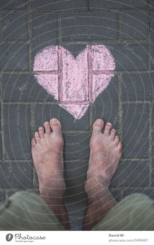 man with heart Man Heart foot Love Ground In love Chalk Drawing Lovesickness Declaration of love With love Sincere Warmest congratulations Heart-shaped Painted