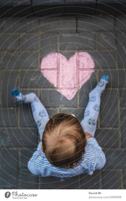 Infant with heart Heart Child Cute Boy (child) foot Love Think Observe Ground Chalk Drawing With love Sincere Warmest congratulations Heart-shaped Painted Red