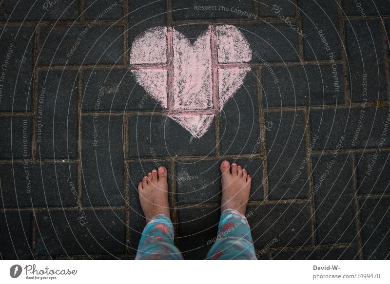Child with heart Heart Cute foot Love Ground Chalk Drawing With love Sincere Warmest congratulations Heart-shaped Painted Red Emotions Light Day Colour photo