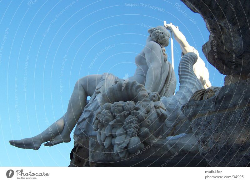 Woman Sky Blue Water Naked Gray Stone Art Well Monument Statue Landmark Sculpture Vienna Fountain Arts and crafts