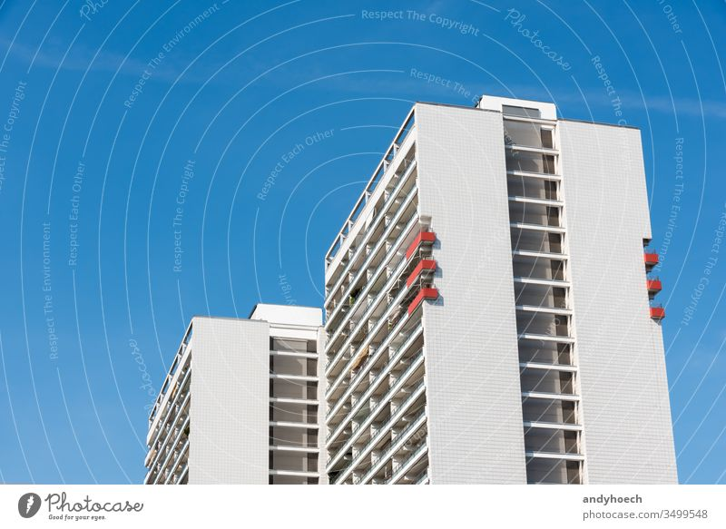 The six red balconies on the apartment building architecture balcony Berlin block blue blue sky building exterior built structure capital city cityscape