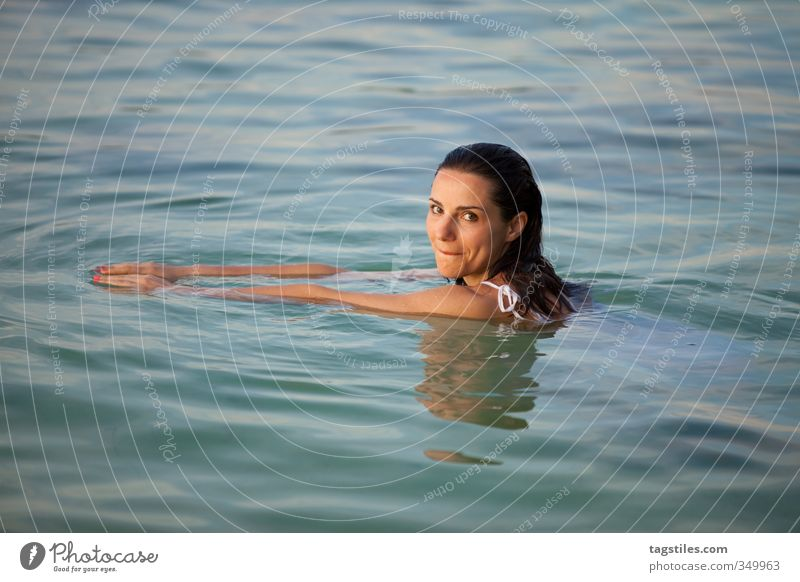 Woman Nature Vacation & Travel Beautiful Water Ocean Relaxation Calm Young woman Black Freedom Swimming & Bathing Cute Sweet Soft