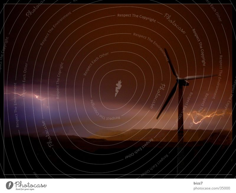 energy Lightning Night Force of nature Storm Wind energy plant Energy industry