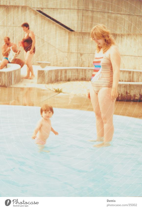 Mother with child Feminine Child Woman Summer Bathroom Playing Group Human being Sun Joy Water Swimming & Bathing