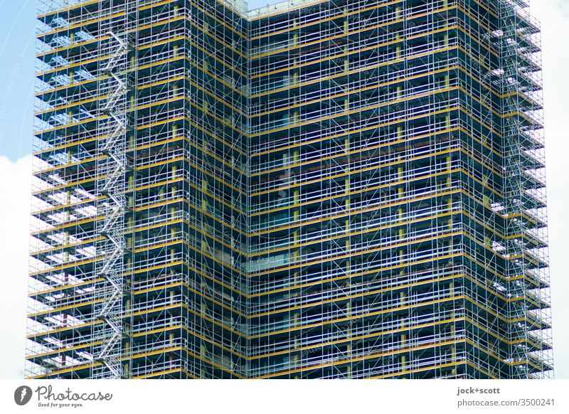 Roundabout to residential tower Construction site Tower block Sharp-edged Change Scaffold Redevelop Complex Architecture Deserted Exterior shot Colour photo