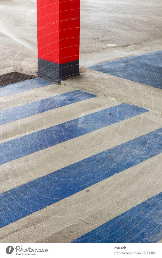 strip on concrete floor Arrangement Red White Blue Gray Stripe Concrete Intersection Parking Column havoc System Rule Transport Safety