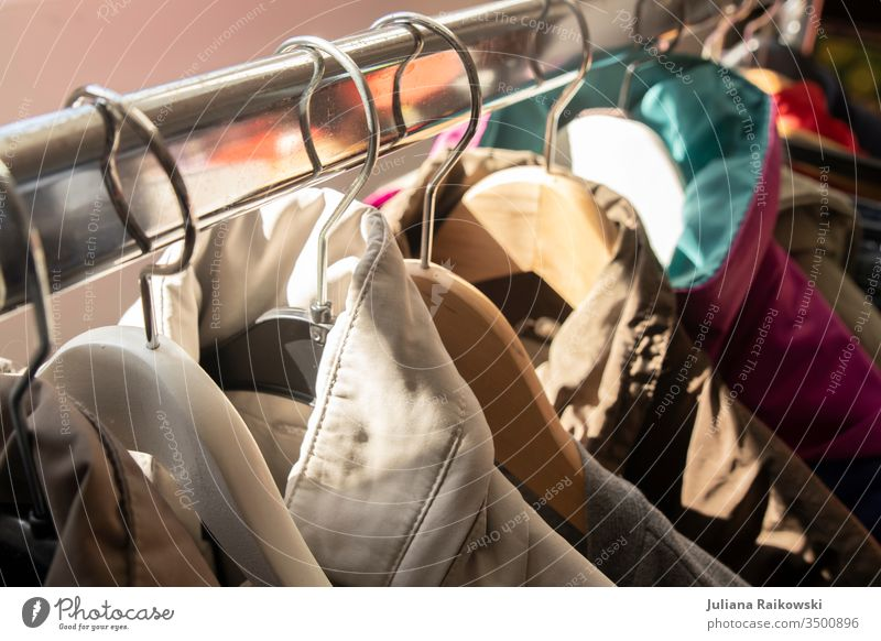 Clothes on a clothes rail at the flea market Hanger garments Hallstand Clothing Fashion Detail Shopping Style Lifestyle Second-hand shop Flea market