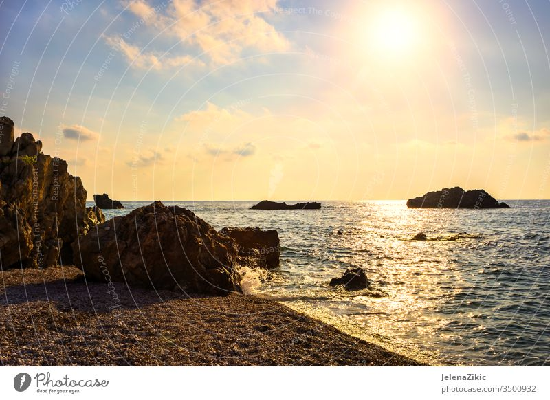 Beautiful sunset over the sea sky summer dusk reflection nature seascape view dawn beautiful ocean sunrise landscape orange dark wave outdoor colorful sundown