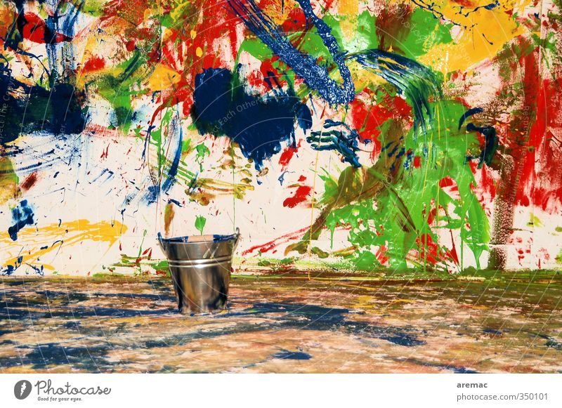 In a frenzy of colours Wall (barrier) Wall (building) Living or residing Joy Bucket Dye Paint bucket Painting (action, work) Wallpaper Colour photo