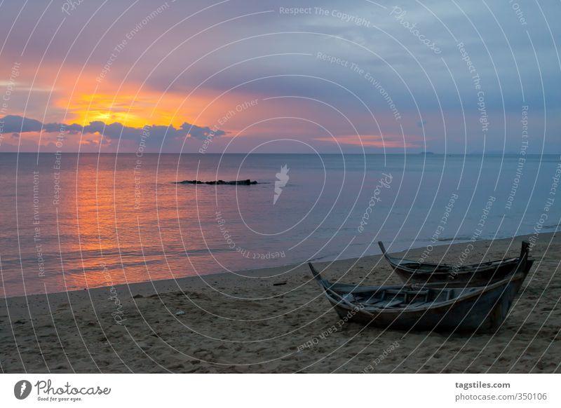 KO LANTA Andaman Sea Ko Lanta lanta Thailand Krabi Landscape Sunset Watercraft Fishing boat Ocean Beach Vacation & Travel Travel photography Card Idyll Paradise