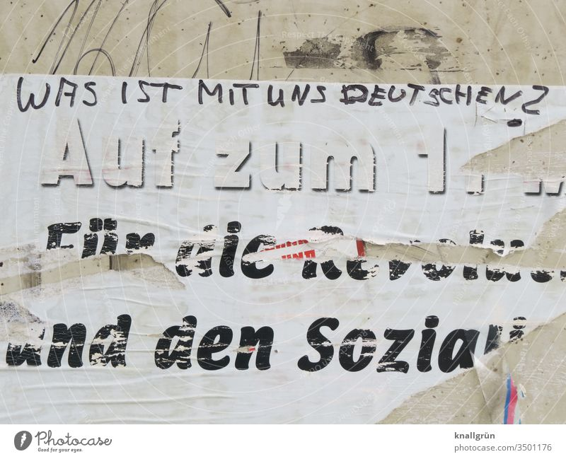 What about us Germans? Germany Society Politics and state Socialism May 1 Political movements Protest Poster Characters Ask Exterior shot Graffiti