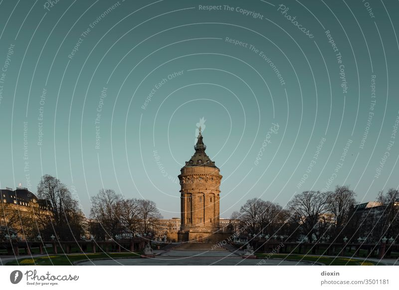 The water tower of Mannheim Water tower Tower Architecture Deserted Sky Exterior shot built Manmade structures Colour photo Day Copy Space top