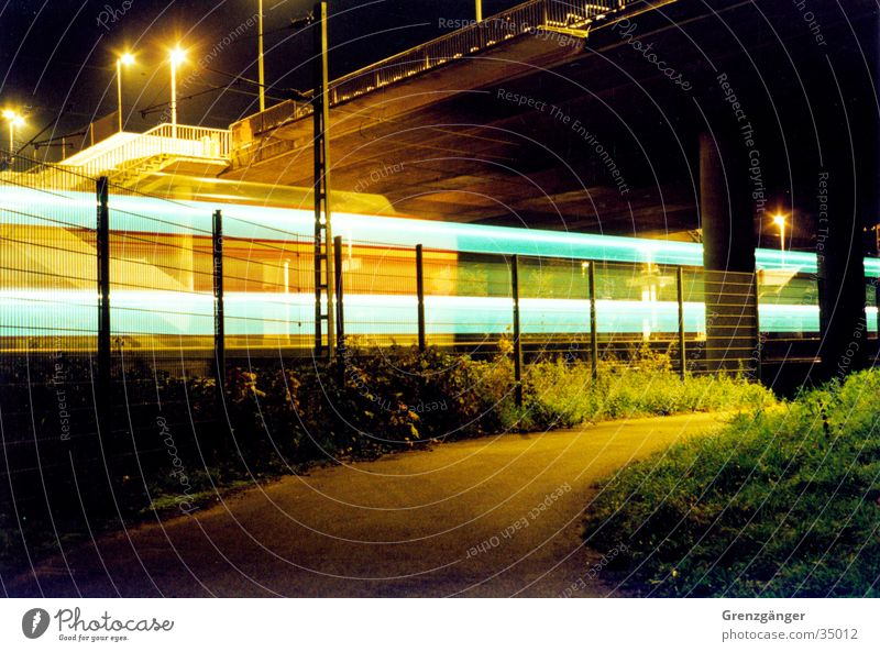 expeditious Night Long exposure Light Railroad Speed Transport doubledecker Movement