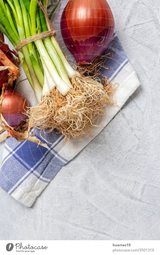 Fresh red and white onions on gray background food vegetable ingredient natural healthy food fresh vegetarian vegan organic group raw plant nutrition bulb green