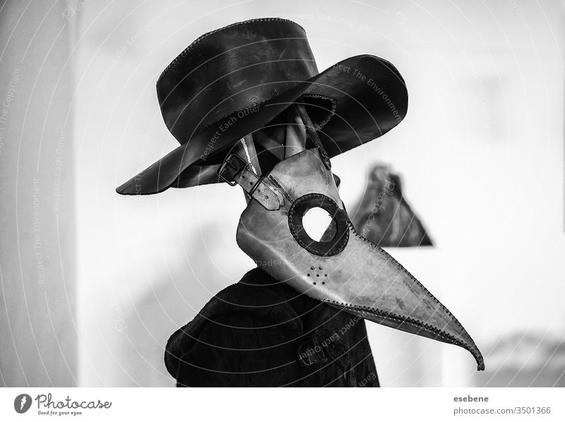 """Plague mask, infectious crow white theatrical bubonic protection """"plague doctor"""" masque decoration epidemic nightmare background science clothing stylized"""