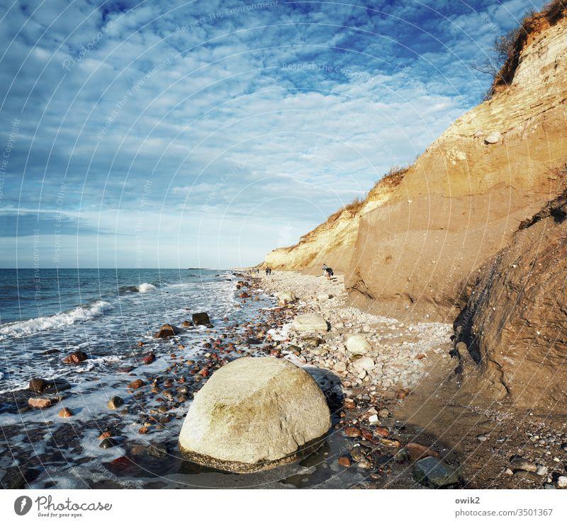 Blue and ochre Darss Beach Baltic Sea Coast Ocean Sky Nature Water Western Beach Fischland-Darss-Zingst Sunlight Idyll Stony stones Sand Sky Clouds Orange Ochre