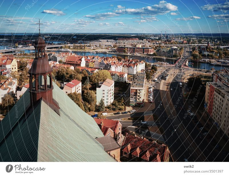Clearly arranged City Poland Port City Szczecin urban Bird's-eye view view from above Overview of the houses Modern Church Crucifix house of God Dome