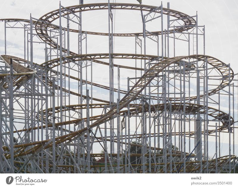 How life plays Roller coaster Framework Scaffolding up down Muddled up and down metaphor Exterior shot Deserted Day Sky Leisure and hobbies leisure park
