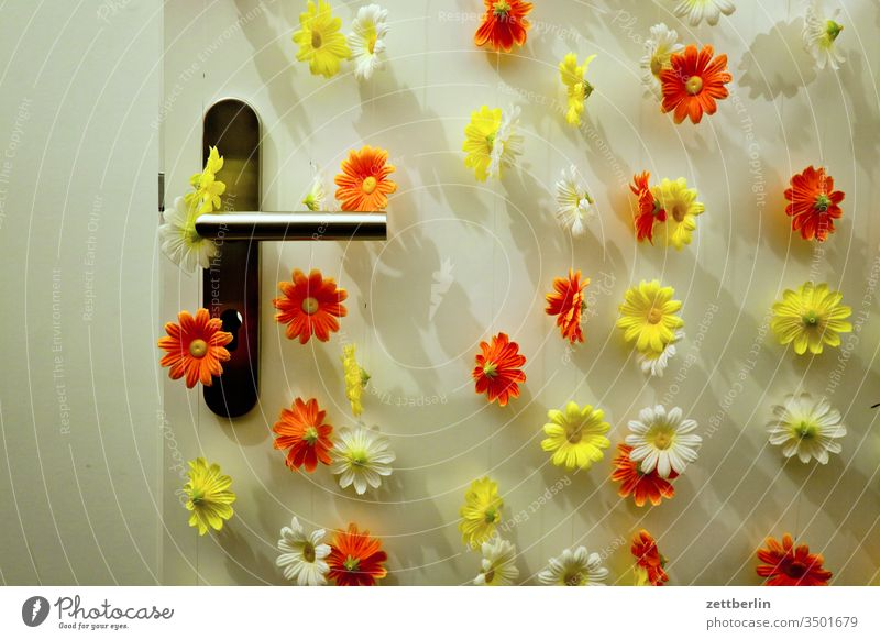 Spring per decoration Way out Flower Blossom Decoration Entrance spring inboard clinic Deserted Easter Jewellery Copy Space Door door handle