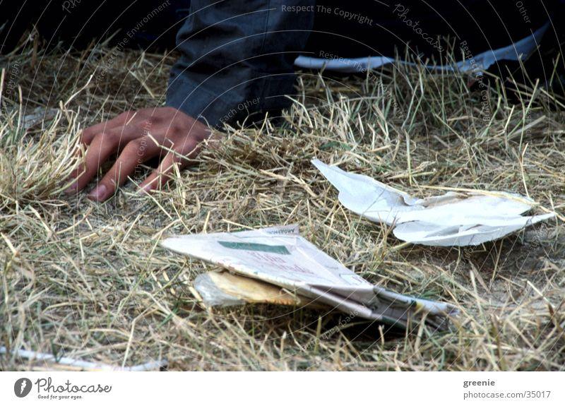 Human being Hand Grass Sit Trash