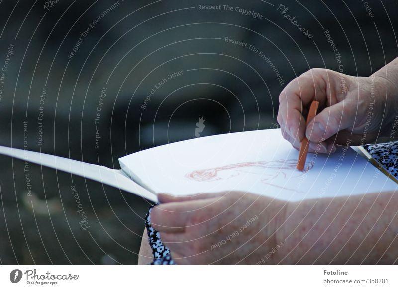 Human being Woman Old Hand Adults Senior citizen Feminine Skin Fingers Paper Painting (action, artwork) Female senior Near Draw Artist Chalk