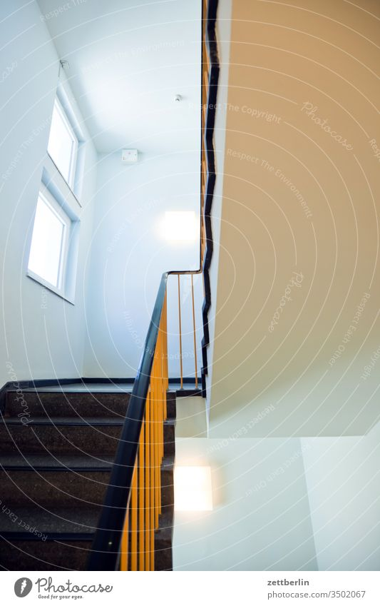 stairwell Banister Handrail Staircase (Hallway) Downward Landing ascent Descent Upward Window House (Residential Structure) Apartment house Deserted sales