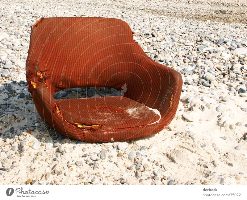 armchair Beach Armchair Red Style Grain of sand Broken Old Brown Relaxation Retro Leisure and hobbies Chair Sand Stone Denmark Water Dirty Seating Sun