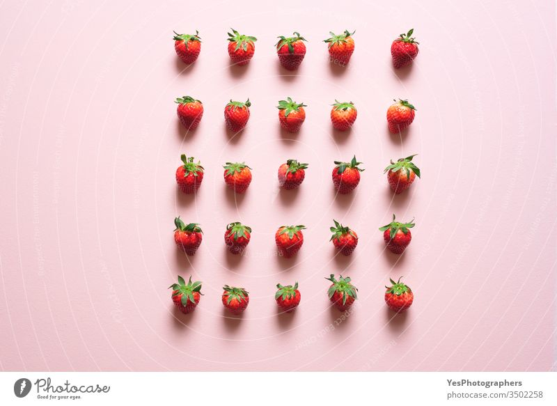 Fresh strawberries symmetrically aligned on the table agriculture berry bio concept control crowding detox diet discipline distancing farmers market flat lay