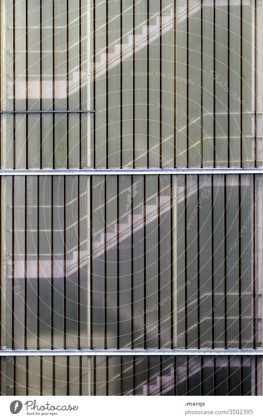 stairwell Facade Plastic Stairs Staircase (Hallway) lines Architecture rail Go up Building Career
