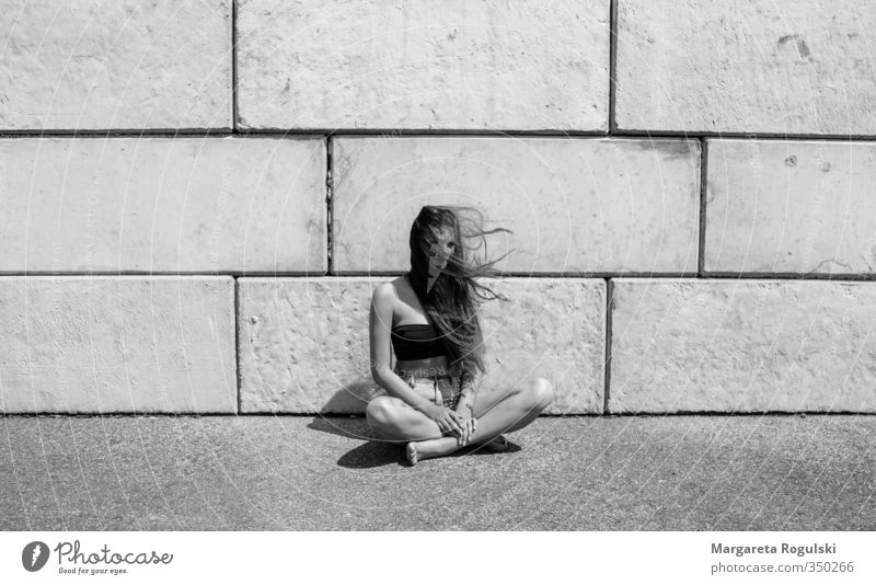 CUTTER SEAT Black & white photo Middle Sit Sit Cross Legged Long-haired Hair and hairstyles Thin Woman Girl Wall (barrier) Stone Concrete Wind Warmth Summer