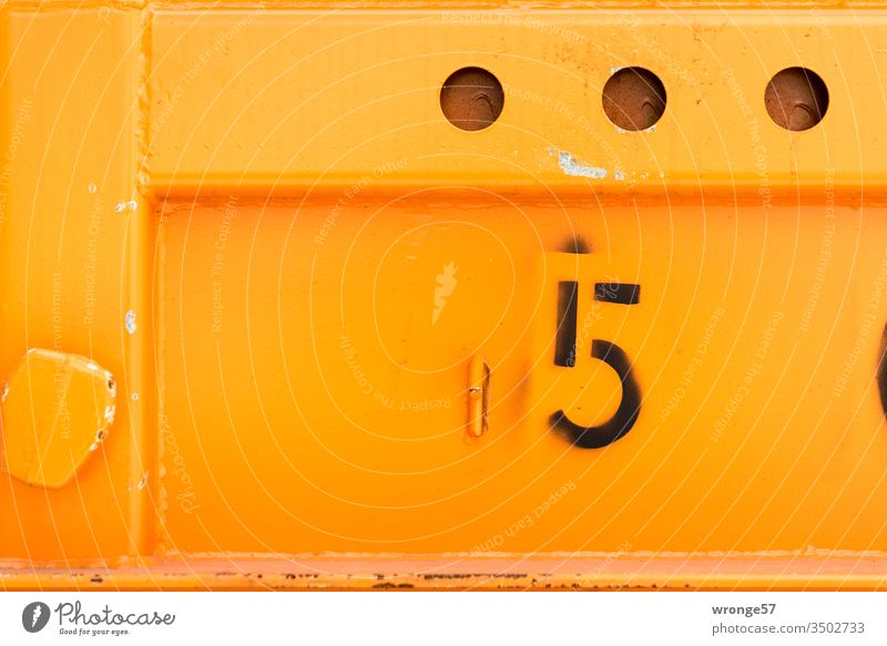 Number 5 - Digit on the wall of an orange container number Digits and numbers Colour photo Deserted Exterior shot Signs and labeling Detail Container