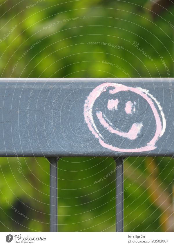 Pink smiley on a metal fence Smiley Graffiti Smiling Metalware Gray Green Communicate Colour photo Deserted Exterior shot Sign Day Copy Space top