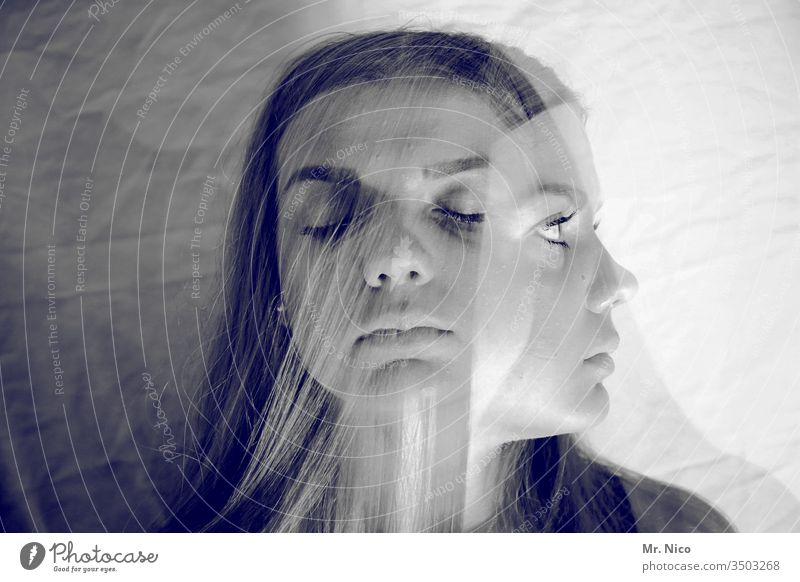 one and the same Closed eyes Double exposure Feminine portrait Experimental Abstract Looking away Exceptional Whimsical Delusion Illusion Schizophrenia Fantasy