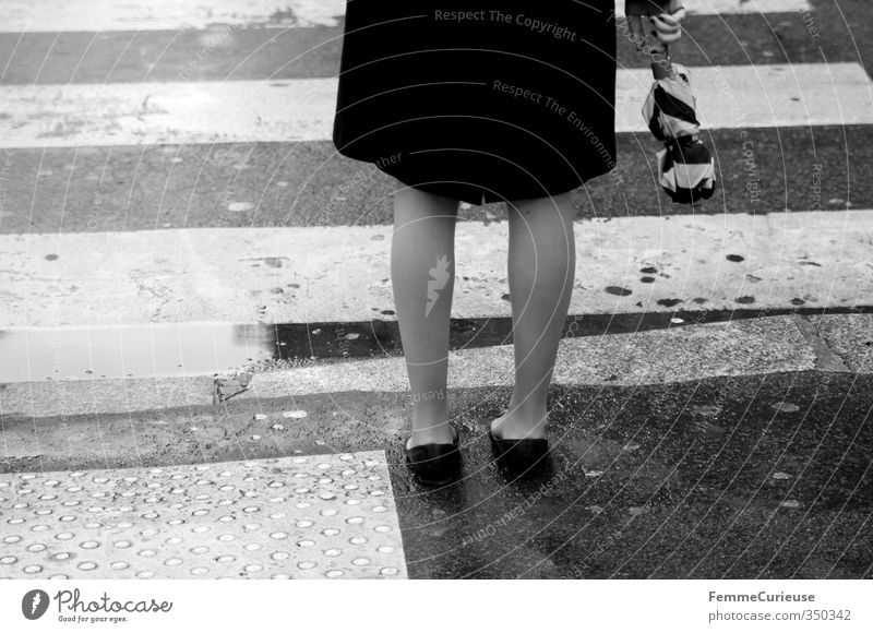 Human being Woman Youth (Young adults) City Water Young woman Black 18 - 30 years Adults Street Feminine Legs Rain Gloomy Wait Stand