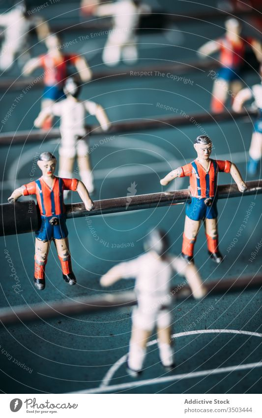 Table football game with players table retro recreation sport figurine soccer kicker old foosball match team colorful field attack forward vintage entertain